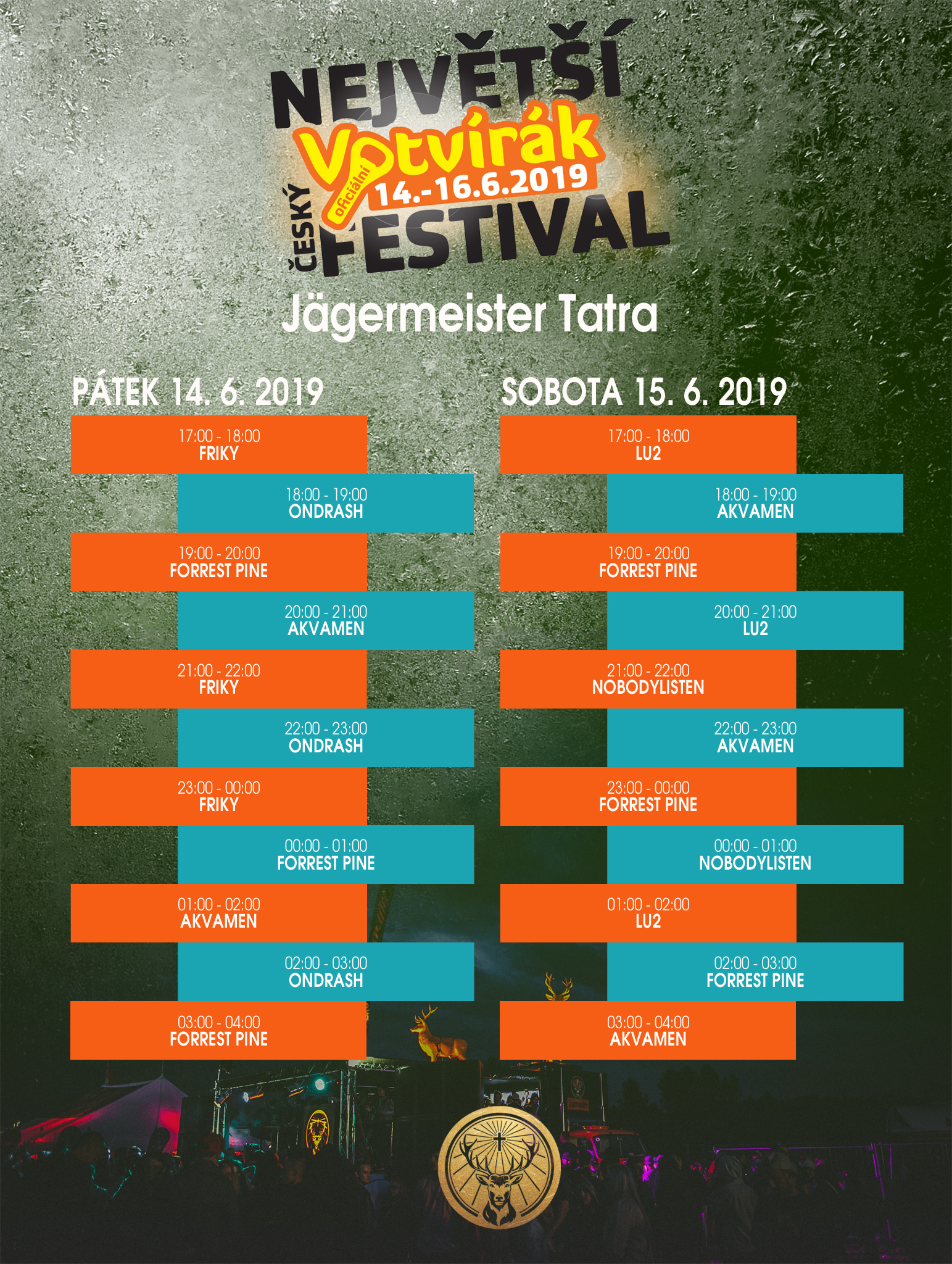 Program Jägermeister TATRA - DJ BAR Votvírák 2019
