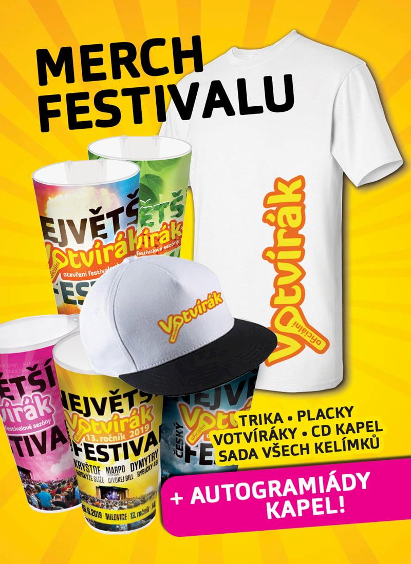 merchandising festivalu Votvírák - trička, placky, čepice, kelímky