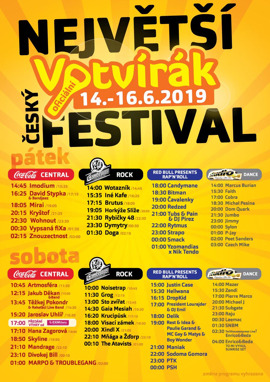 Program festivalu Votvírák 2019 / line up festivalu Votvírák