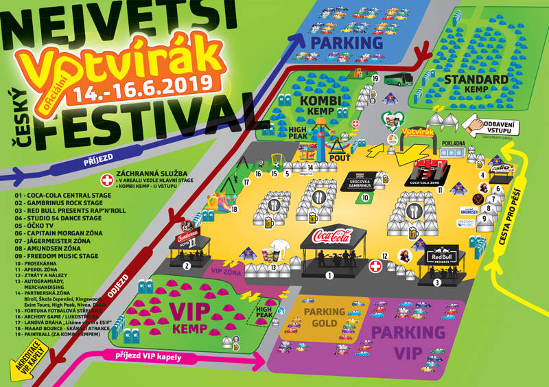 Mapa areálu festivalu Votvírák 2019